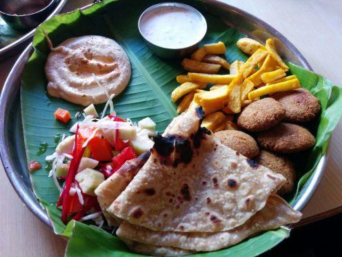 Falafel platter at Mango Tree, Hampi